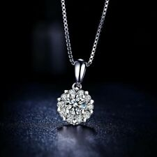 Noble Jewel Diamond Cluster 925 Sterling Silver Pendant Chain Necklace