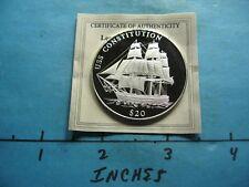 U.S.S. CONSTITUTION 1797 NAVY LAUNCH LIBERIA 999 SILVER COIN RARE SHARP D43