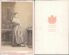 AD.Braun, canton de Neufchâtel, costumes suisses Vintage CDV albumen carte de vi