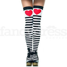 Alice Queen of Hearts Stockings Red Heart Striped Fairytale Fancy Dress NEW