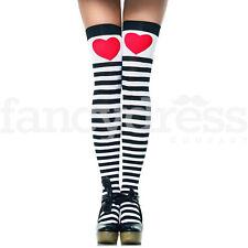 Alice Stockings Red Heart Striped Black White Tea Party Fairytale Fancy Dress