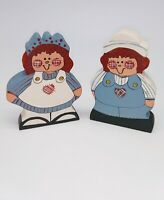 VINTAGE WOODEN HAND PAINTED RAGGEDY ANN AND ANDY BLOCK STYLE FIGURINES