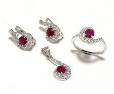 925 Sterling Silver Natural Ruby & Cz 4 Piece GemStone Set Jewelery