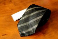 TRUSSARDI 100% Silk Black Striped Tie Free Shipping New with Tags Made in Italy