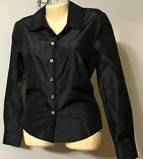 St. John Couture Black Blouse Button Front Long Sleeve Size 6 VGC Made in USA