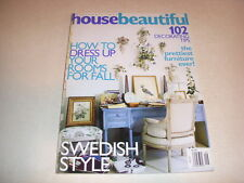 HOUSE BEAUTIFUL Magazine, September, 2001, HOW TO DRESS UP YOUR ROOMS FOR FALL!