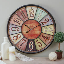 """24"""" Wooden Large Wall Clock Tuscan Rich Coloring Number Iron Bistro Decor"""