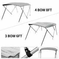 """600D Bimini Top Boat Roof Cover 3/ 4 Bow  61""""-96"""" Width Cover 6/ 8ft Length Gray"""