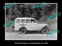 OLD POSTCARD SIZE PHOTO OF SHELL OIL COMPANY JOWETT BRADFORD VAN 1948 NZ 2