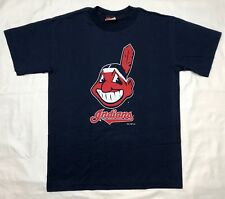 Vtg 90s Trench Cleveland Indians Mens Navy Blue S/S T-Shirt Sz Medium C2