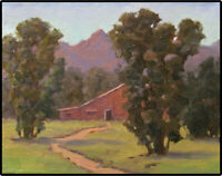 Jeff Love Original Oil Painting Country Red Barn Farm Landscape Impressionism