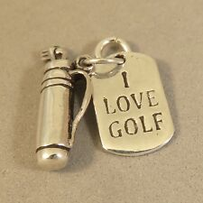 ".925 Sterling Silver 3-D ""I LOVE GOLF"" BAG & CLUBS CHARM Pendant NEW 925 SP61"