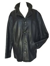 Guess Man's Heavy Black GENUINE Leather Jacket Removable Fleece Lining size M