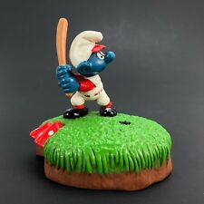 Peyo Smurfs Vintage 1982 Berrie Baseball Sporty Pencil Pen Holder 1980s Toy Rare