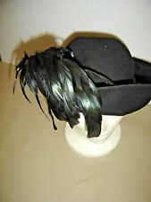 Vintage 100% Black Wool Hat with silk Ribbon and Bow and Black Feathers 183