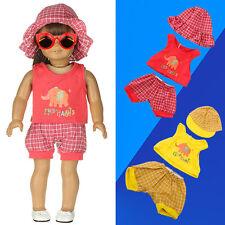 1 Set Clothing Vest + Short Pants + Hat For 18 inch Toy Doll Tool Set Pop*