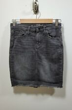 Universal Thread Black Denim Mini Skirt w/ Frayed Hem Size 2/26R Excellent Cond.