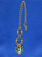Zuni Design Sterling Silver Inlaid Stones Chain Necklace Marked Signed