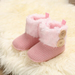 Booties Newborn Snow Crib Pram Shoes Warm Winter Faux Fur Lined Boots Girl Baby