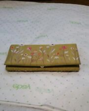 Indian Silk Embroidered Wallet/Cash Holder/Check book mini clutch pale green EUC