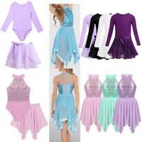 Girls Kids Ballet Dance Leotard Dress 2PCS Gymnastics Tutu Skirt Costume Outfit
