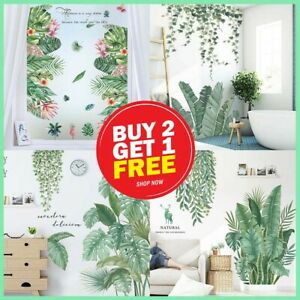 Tropical Green Leaves Plant Removeable Art Vinyl Wall Stickers Nursery Decor AU