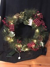 Pier 1 Imports 19� Christmas Wreath Pre Lit Red Buffalo Ribbon With Holly Nib
