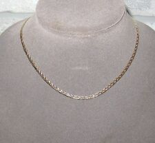 "LQQK Gorgeous 14K Yellow & White Gold Braided Chain Necklace 16.25"" unique Italy"