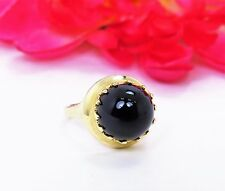 Vintage Clyde Duneier 14K Yellow Gold Round Cabochon Black Onyx Women's Ring