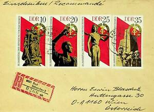 GERMANY DDR 1975 4v 30TH ANN FREEDOM FROM FASCISM ON REGD COVER TO WIEN AUSTRIA