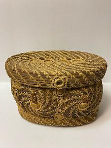 Antique Satin Lined Fine Woven Wicker Weaved Sewing Basket Box