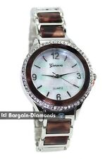 ladies silver tone dark tortoise shell MOP dial party dress watch link bracelet