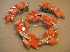 Stunning Orange AB and Clear Rhinestone Vintage Brooch and Earrings #3677