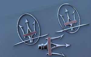 3PCS Maserati Quattroporte GranTurismo Front Grille+RH&LH Side Logo Emblem Badge