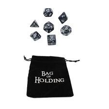 Black Pearl Set of 7 Plastic Polyhedral Dice for D&D RPG w/ FREE Velvet Bag