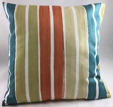 Teal, Cream, Dark Cream, White&Terracotta Stripes Evans Lichfield Cushion Cover