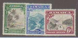 A4801: Jamaica #106-108 Mint, OG, VF, NH; CV
