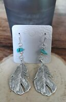 Native American Silver Feather & Turquoise Crystal Drop Earrings - Boho