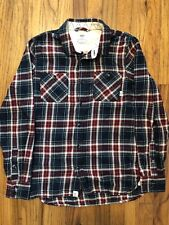 Vans Button Front Flannel Mens Shirt Red/Navy Size XS