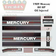 1989 Mercury 80HP Oil Injected Outboard Repro 21 Pc Decals, Leather look stripes