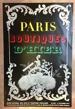 PARIS BOUTIQUES D'HIER 1977 AFFICHE ORIGINALE MUSEE ARTS POPULAIRES PARIS