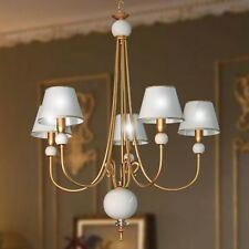 Lampadario ferro e ceramica bianca 5 luci colore oro francese con paralumi