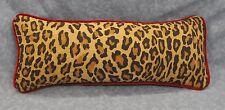 """Ralph Lauren Aragon Leopard Animal Print Custom Pillow 18"""" x 7"""" Red Velvet Cord"""