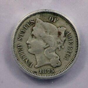 1875-P 1875 Three Cent Nickels ICG VF35 Details