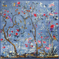 "Women's Fashion Blue Floral Jungle Twill Silk Square Blanket Scarf Shawl 51""*51"""
