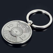 Sun&Moon Compass Utility Perpetual Calendar Unique Metal Key Chain Ring 50 Years