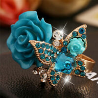 Adjustable Rose Butterfly Finger Ring Crystal Rhinestone Ring Jewelry ALUS