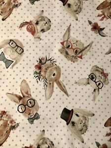 Hipster Rabbit Cotton Tablecloth Glasses Bowtie Top Hat Bunny Cute Polka Dot Fun