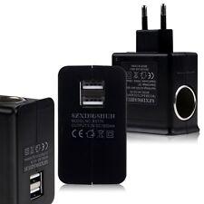 AC EU Wall Plug to DC Car Charger Adapter Cigarette Lighter Socket + 2 USB Port