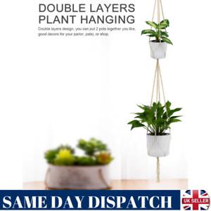 New 2 Layer Garden Plant Hanger Macrame Hanging Basket Rope Flower Pot Holder UK